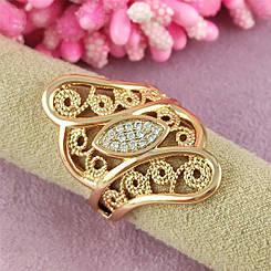 Кільце перстень Xuping Ауріка медичне золото 18К позолота