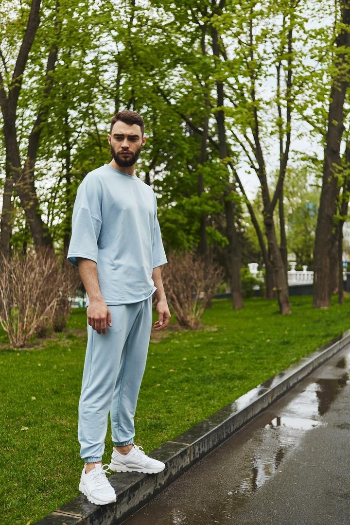Летний Мужской Комплект Оверсайз футболка и штаны стильный   Чоловічий спортивний комплект оверсайз