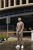 Мужской летний комплект оверсайз футболка и штаны бежевый   Чоловічий літній комплект оверсайз бежевий, фото 1