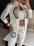 Жіночий літній костюм з трикотажу (Туреччина); розміри:З,М,Л,ХЛ повномірні Кольори: чорний,білий,червоний, фото 3