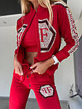 Женский летний костюм из трикотажа (Турция); размеры:С,М,Л,ХЛ полномерные Цвета: чёрный,белый,красный, фото 2