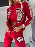 Жіночий літній костюм з трикотажу (Туреччина); розміри:З,М,Л,ХЛ повномірні Кольори: чорний,білий,червоний, фото 2