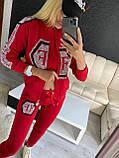 Женский летний костюм из трикотажа (Турция); размеры:С,М,Л,ХЛ полномерные Цвета: чёрный,белый,красный, фото 3