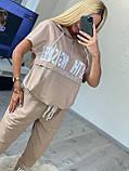Женский летний костюм с брючками* (Турция); Размеры:50,52,54,56(полномерные),пудра ,бежевый., фото 3