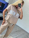 Жіночий літній костюм з брюками (Туреччина); Розміри:50,52,54,56(повномірні)кольору беж, пудра., фото 3