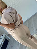 Жіночий літній костюм з брюками (Туреччина); Розміри:50,52,54,56(повномірні)кольору беж, пудра., фото 4