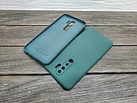 Силиконовый матовый чехол с микрофиброй для Xiaomi Redmi Note 8 Pro зеленый тонкий матовый бампер