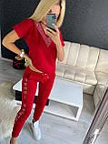 Женский летний костюм из трикотажа (Турция); размеры:С,М,Л,ХЛ полномерные Цвета :красный,пудра, фото 2