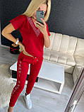 Жіночий літній костюм з трикотажу (Туреччина); розміри:З,М,Л,ХЛ повномірні Кольори :червоний,пудра, фото 2