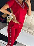 Жіночий літній костюм з трикотажу (Туреччина); розміри:З,М,Л,ХЛ повномірні Кольори :червоний,пудра, фото 3