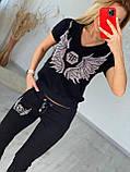 Жіночий літній костюм з трикотажу (Туреччина); розміри:З,М,Л,ХЛ повномірні кольори:червоний,чорний,білий., фото 2