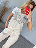 Жіночий літній костюм з трикотажу (Туреччина); розміри:З,М,Л,ХЛ повномірні кольори:червоний,чорний,білий., фото 5