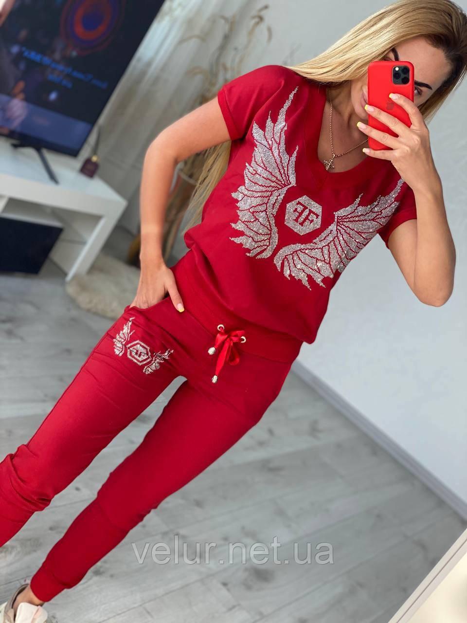 Жіночий літній костюм з трикотажу (Туреччина); розміри:З,М,Л,ХЛ повномірні кольори:червоний,чорний,білий.
