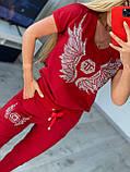 Жіночий літній костюм з трикотажу (Туреччина); розміри:З,М,Л,ХЛ повномірні кольори:червоний,чорний,білий., фото 6