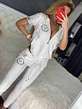 Жіночий літній костюм з трикотажу (Туреччина); розміри:З,М,Л,ХЛ повномірні Кольори :червоний,чорний,білий,пудра, фото 2