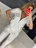 Жіночий літній костюм з трикотажу (Туреччина); розміри:З,М,Л,ХЛ повномірні Кольори :червоний,чорний,білий,пудра, фото 4