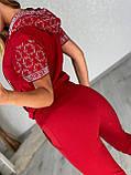Жіночий літній костюм з трикотажу (Туреччина); розміри:З,М,Л,ХЛ повномірні Кольори :червоний,чорний,білий,пудра, фото 8