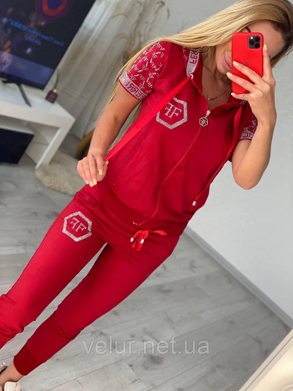 Жіночий літній костюм з трикотажу (Туреччина); розміри:З,М,Л,ХЛ повномірні Кольори :червоний,чорний,білий,пудра