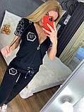Жіночий літній костюм з трикотажу (Туреччина); розміри:З,М,Л,ХЛ повномірні Кольори :червоний,чорний,білий,пудра, фото 5