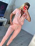 Жіночий літній костюм з трикотажу (Туреччина); розміри:З,М,Л,ХЛ повномірні Кольори :червоний,чорний,білий,пудра, фото 9