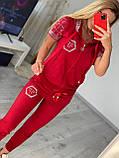 Женский летний костюм из трикотажа (Турция); размеры:С,М,Л,ХЛ полномерные Цвета :красный,черный,белый,пудра, фото 7