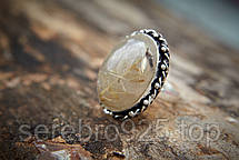 Кольцо с натуральным рутиловым кварцем - волосатик ( Волос Венеры) в серебре 18 р,, фото 2