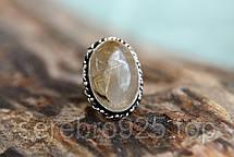 Кольцо с натуральным рутиловым кварцем - волосатик ( Волос Венеры) в серебре 18 р,, фото 3
