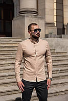 Мужская льняная рубашка с длинным рукавом летняя бежевая