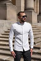 Мужская льняная рубашка с длинным рукавом летняя белая