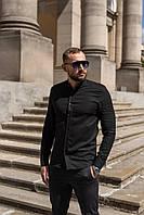 Мужская льняная рубашка с длинным рукавом летняя черная