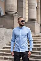 Мужская льняная рубашка с длинным рукавом летняя голубая