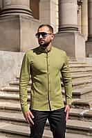 Мужская льняная рубашка с длинным рукавом летняя оливковая