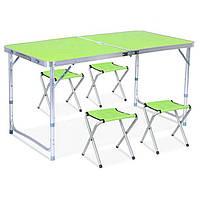 Стол для пикника с 4 стульями Folding Table салатовый