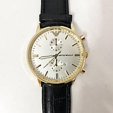 Годинники наручні Emporio Armani Black чорний ремінець, циферблат -светный (репліка)