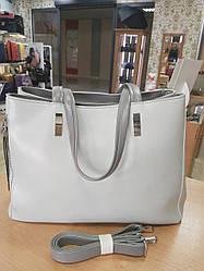 Женская сумка с качественной экокожи , 38-27-15 см , цвет серый