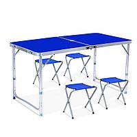 Стіл для пікника зі 4 стільцями Folding Table синій, фото 1