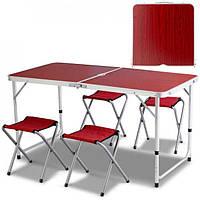Стіл для пікніка з 4 стільцями Folding Table під дерево, фото 1