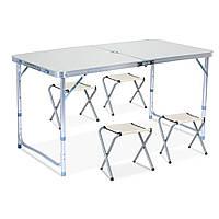 Стол для пикника с 4 стульями Folding Table серебро