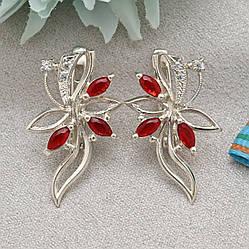 Серебряные серьги Азалия размер 26х14 мм вставка красные фианиты вес 3.5 г