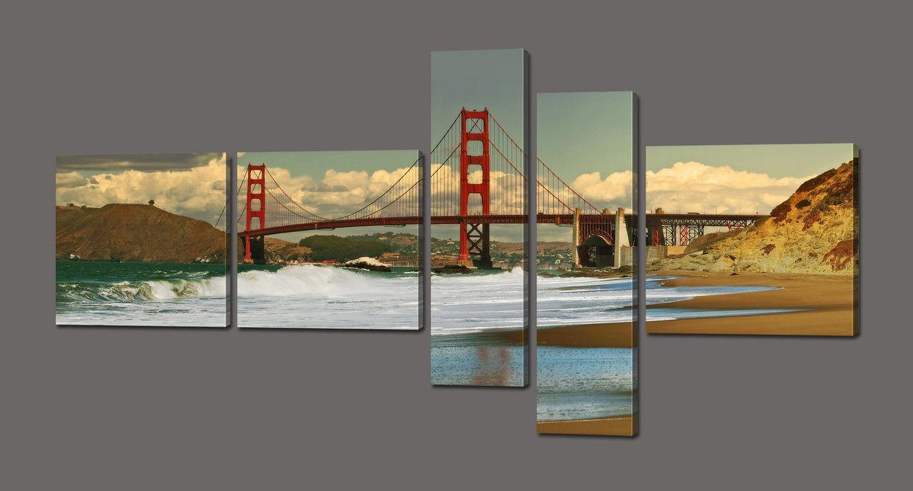 Модульная картина Мост Золотые ворота 160*84 см Код: 609.5к.160