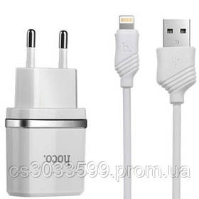 Набір 2 в 1 СЗУ With Lightning Cable 110-240V Hoco C72, 1xUSB, 2.4 A, White, Blister-box