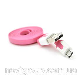 Кабель USB 2.0 (AM / Місго 5 pin) 1,0м, (плоский) Pink, OEM