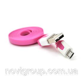 Кабель USB 2.0 (AM / Місго 5 pin) 1,0м, (плоский) Violet, OEM