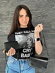 Женская сумка 2в1, экокожа PU (чёрный), фото 4