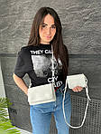 Жіноча сумка 2в1, екошкіра PU (білий), фото 4