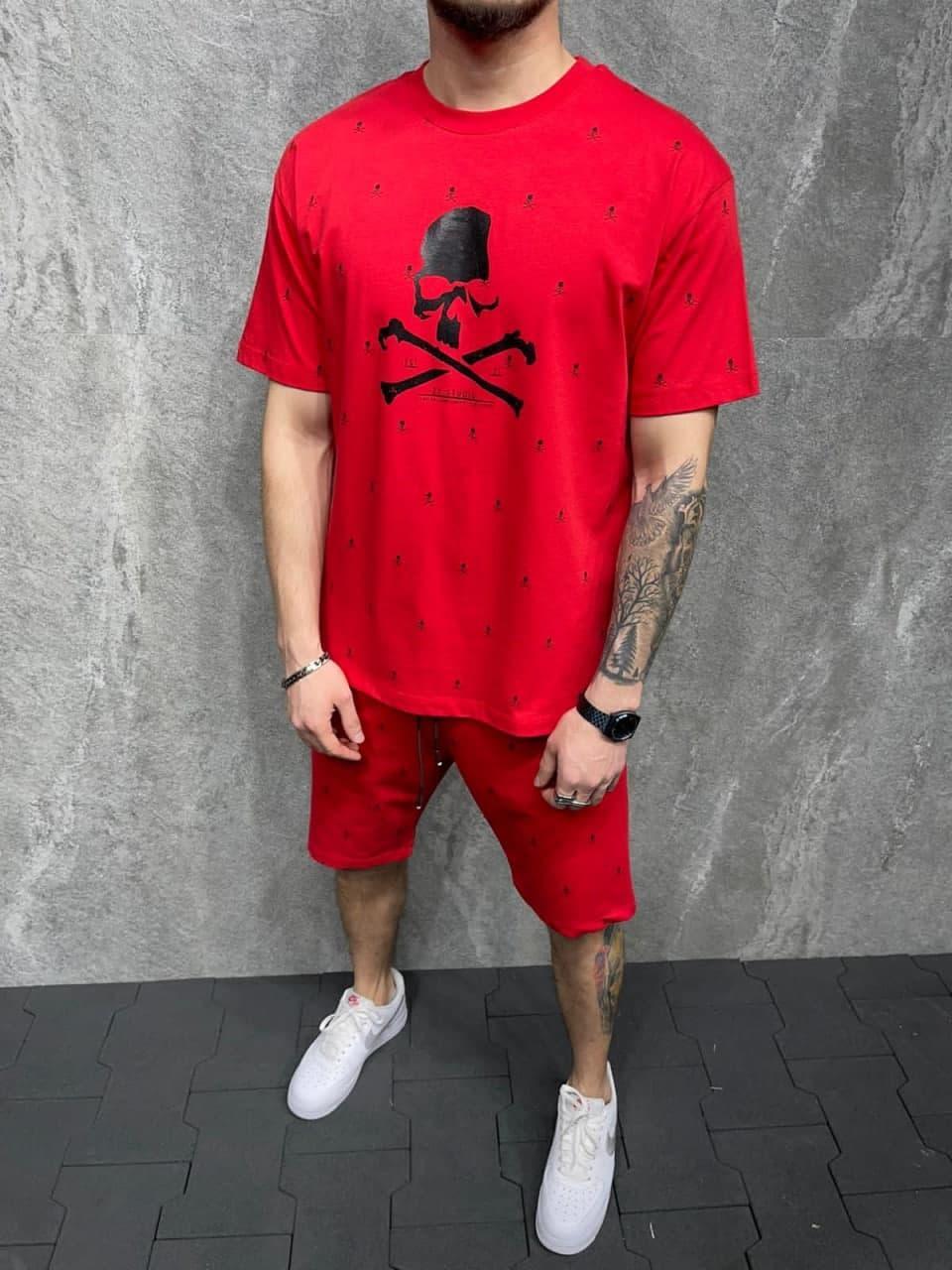Мужской классический/спортивный костюм/комплект красный с принтом череп лето Футболка  + шорты Турция