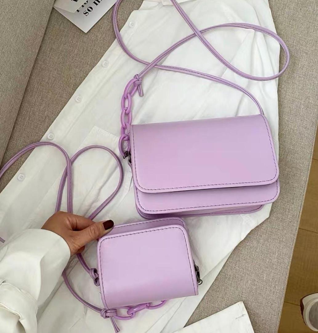 Женская сумка 2в1, экокожа PU (сирень)