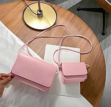 Женская сумка 2в1, экокожа PU (розовый)