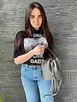 Жіноча сумка, екошкіра PU (сірий), фото 4