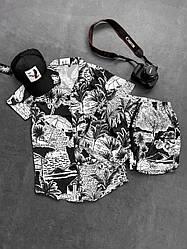 Пляж Мужской спортивный костюм/комплект черно белый лето. кофта  + шорты Турция